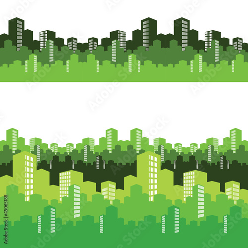 Green city, vector illustration, background