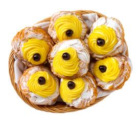 Zeppole alla crema, dolce tipico campania, Italia