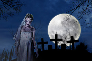 Creepy zombie bride