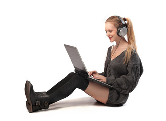 Blonde Girl Using her Laptop Computer