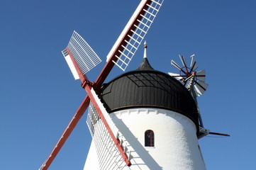 Windmill against a blue sky on the Danish island Bornholm