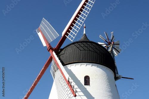 Windmill against a blue sky on the Danish island Bornholm