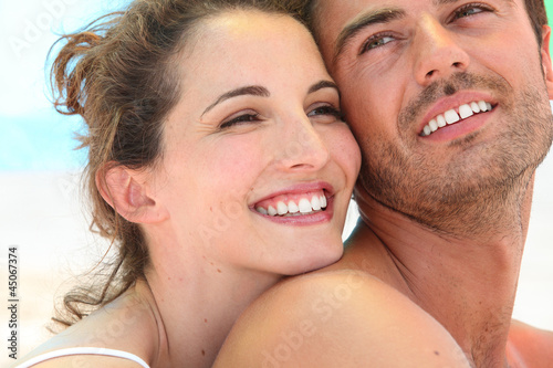 Smiling loving couple