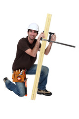 A carpenter with a plank.