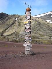 Signpost on Jan Mayen island near norwegian barracks, the Arctic