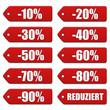 Rabatt-Etiketten 10 bis 90 Prozent