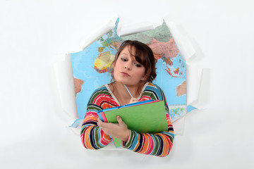 woman studying geography