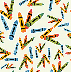 Multicolored crayons pattern background