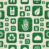 Environmental green icons pattern in organic wood