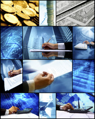 Conceptual collage on  financial business topic