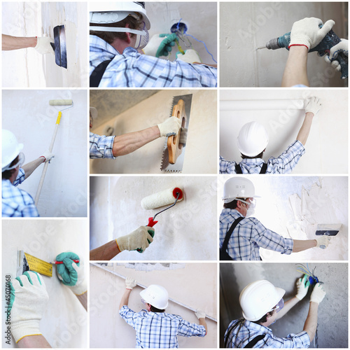 Renovation collage. A man working at home
