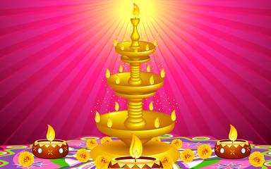 Golden Diya Stand