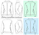 Women's sweatshirt with zipper and pockets. Outlines