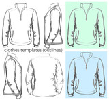 Vector. Men's sweatshirt with zipper and pockets. Outlines