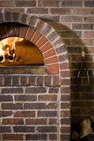 """USA, Utah, Orem, close-up of brick fireplace"""