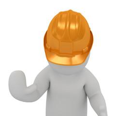 3D man in helmet prevents move