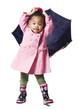 Studio portrait of baby girl (18-23 months) holding umbrella