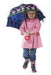 Studio portrait of girl (2-3 years) holding umbrella over head