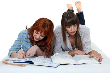 female students working together