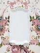 Plate on floral tablecloth