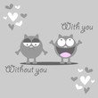 Cute kitten missing someone romantic card