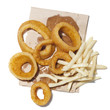 """Onion rings and french fries on paper bag, view from above, studio shot"""