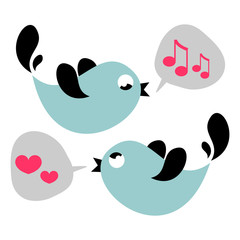 Cute birds singing love card