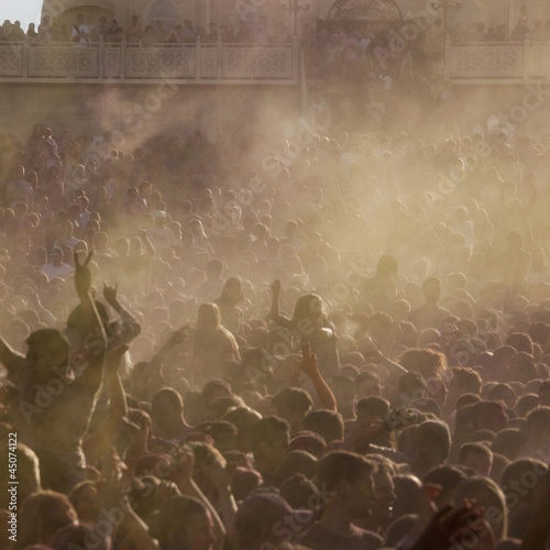 """USA, Utah, Spanish Fork, Crowd at Hindu Festival of Colors"""