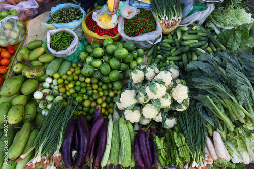 Various vegetables on the Asian food market