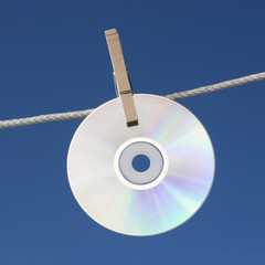 DVD hanging on washing line
