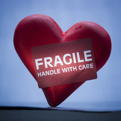 Heart with sign reading fragile