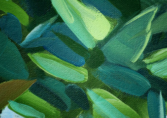 painting by oil on a canvas, green leaves, illustration, backgro