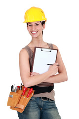 Worker holding a clipboard
