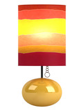 Colourful cylindrical lampshade and base