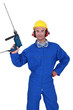 Confident hand man with power drill