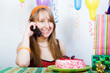 Birthday of a young girl. telephone conversation