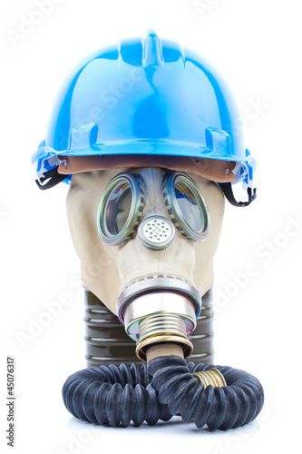 gas mask with blue helmet on white background