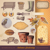 scrapbooking kit: autumn gardening - seasonal ephemera poster