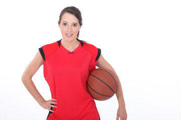 Teenager female basketball player