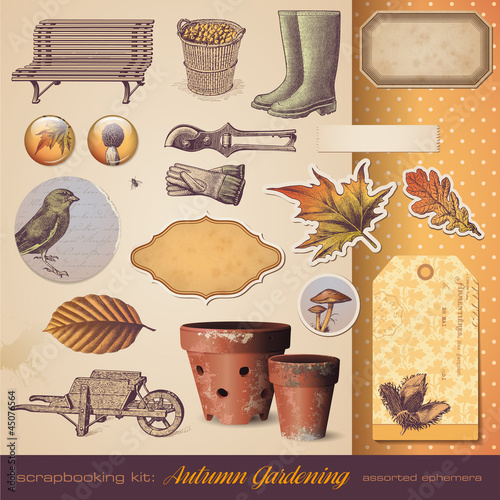 scrapbooking kit: autumn gardening - seasonal ephemera