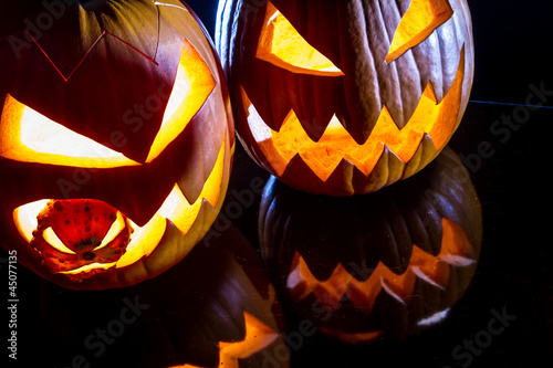 Close-up of two pumpkins for Halloween