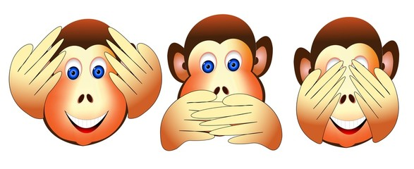 Three Wise Monkeys of east philosophies No evil Faces