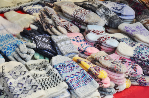 woolen mittens at russian market
