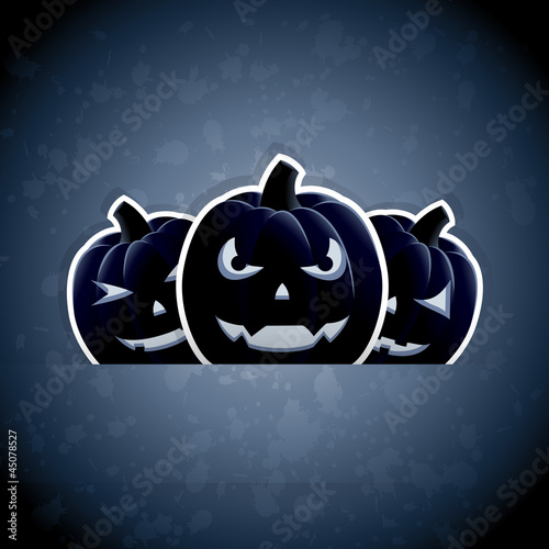 Pumpkins on dark blue background