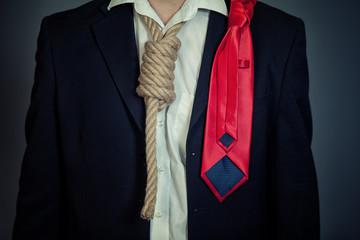 Businessman in noose
