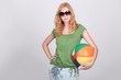 Girl with inflatable beach ball
