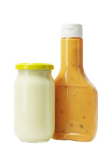Mayonnaise and Thousand Island Dressing in Glass Bottles