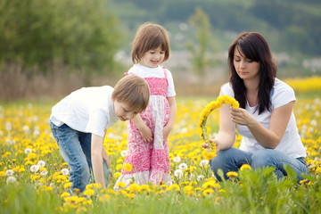 Family picking flowers
