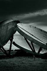 old radar dishes