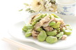 chinese cuisine, broad bean and pork stir fried